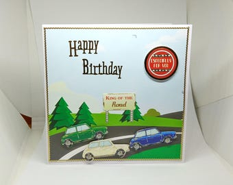 Male Birthday Card - Minis/Cars - luxury personalised unique quality special bespoke UK - Dad/Son/Uncle/Brother/Nephew