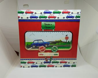 Male Birthday Card - Cars/Minis - luxury personalised unique quality special bespoke UK - Dad/Son/Uncle/Brother/Nephew