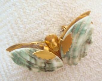 Green Shell Butterfly Brooch