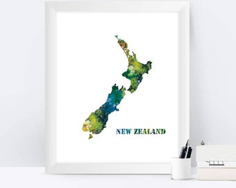 New Zealand Print Watercolor Map New Zealand Poster Map Print New Zealand Wall Art Wall Hanging Office Decor Digital Printable Art