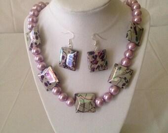 Purple Splatter Necklace Earring Set