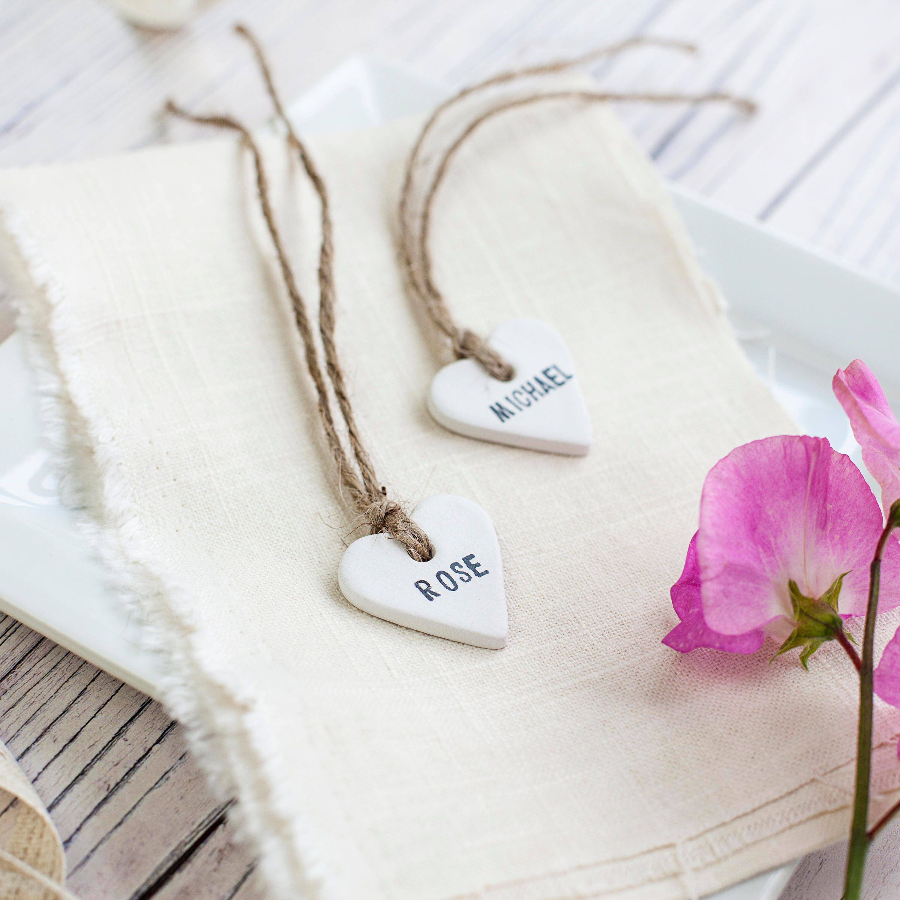 10 personalised clay heart place tags wedding favour favor tags