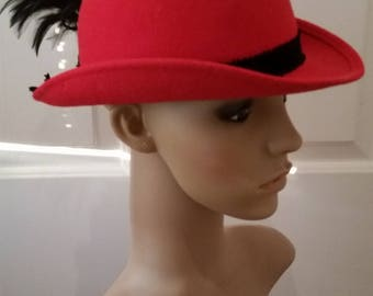 Vintage Mr. John Classic Red Felt Hat with Black Feather Accent