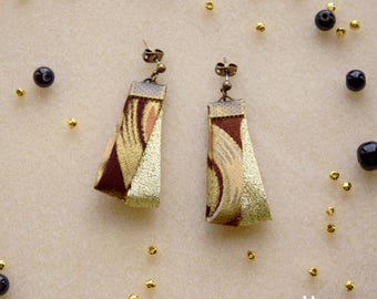 Earrings made of wax and lurex fabric Christmas party original