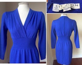 St. John Dress long sleeve, Blue St. John Dress, size 4, st john knit dress, Long sleeve dress, vintage knit dress, size small