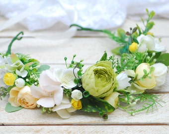 Yellow roses flower crown Summer flower crown Flower headband Wedding Hair Accessory Flower Halo Flower girl crown Bridal headpiece Headband