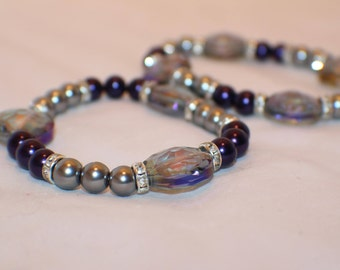 Purple and Grey Beaded Stretch Bracelet- Glass Beads- Friendship Bracelet