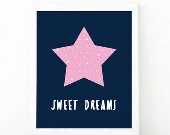 Sweet dreams, printable art, sleepy moon, nursery wall art, good night print, moon print, printable nursery, pink nursery print, moon stars