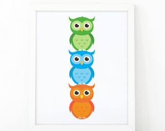 Owl Printable, Owls nursery, kids wall Art, owl printable, Instant download, Nursery wall art, Nursery Decor, woodland animal, shooshprints