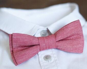 Bow tie for men Coral Melange Linen bow tie Wedding bow tie Mens Bowtie Groomsmen outfit Groom necktie Wedding outfit Wedding tie Necktie
