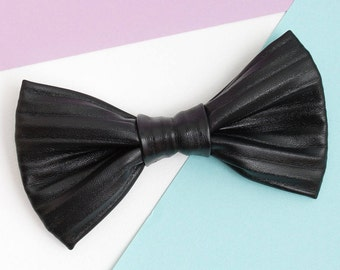 Groomsmen proposal Mens bow tie Black PU Leather bow tie Wedding stuff Anniversary Gift idea Fathers gift Valentines day Clothing gift
