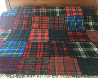 100 % Wool Upcycled Plaid Quilted Throw with Cotton Flannel Backing