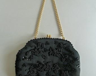 Vintage black bead sequins evening bag/Grandmother gift/Made Expressly for Gimbels Department store memorabilia/gold tone chain