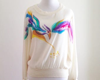 Vintage 70's 80's Women's Sasson Top Painted Bird Sheer Colorful Art to Wear 1980's