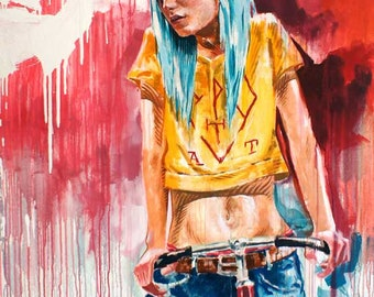 Taxis | original painted BIKE POSTER illustration , best for URBAN home decoration, graffiti inspired , colorfull contemporary art