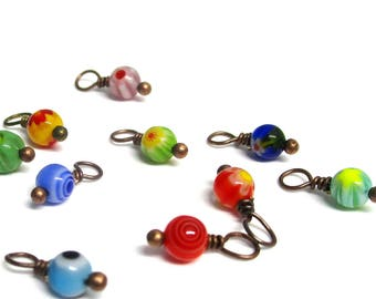 10PC. Mixed Pattern Glass Bead Charm/Delicate handmade Crystal/Antique Copper Tone Plated Bead Dangle/