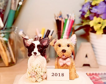 Clay Dog Cake Topper - Yorkie Cake Topper, Papillon Cake Topper, Wedding Cake Topper, Cake Topper, Personalized Cake Toppers,
