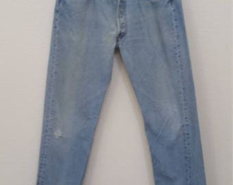 60s Vintage blue denim Levis 501 jeans 34x32 mod rockabilly