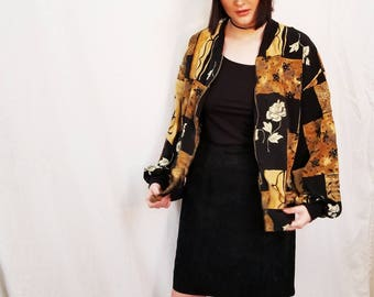 80s 90s Bomber Rayon Jacket. Black Graphic Rose Print jacket. Windbreaker. Size Medium