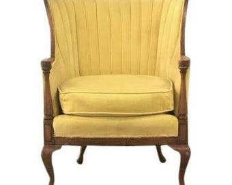 Bright Yellow Antique Velvet Chair! Vintage Yellow Armchair
