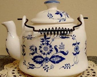 Vintage Blue and White Wire Handled Teapot, Collectible Tea Pot, Farmhouse Decor, Country Cottage Decor