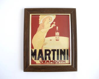 Vintage Bar Decor, Martini Vermouth Framed Advertisement