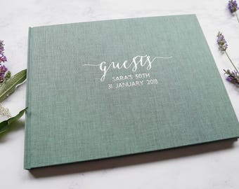 Personalised Guest Book // foil-blocked in gold, silver or white + handbound in 4 different coloured bookcloths