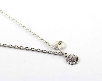 SUNFLOWER necklace, silver tone sunflower necklace, initial necklace, charm necklace, initial jewelry, personalized jewelry, gift for her