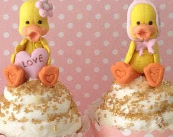 Birthday baby ducks cupcakes toppers,Baby shower girl ducks cupcake topper,fondant ducks cake toppers,3D little Ducks cake toppers.