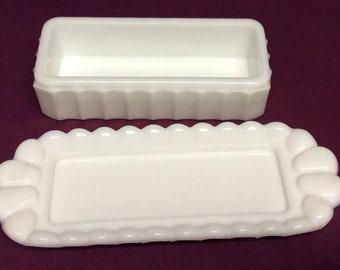 Vintage Westmoreland Rectangle Paneled White Milk Glass Butter Dish Grape Pattern