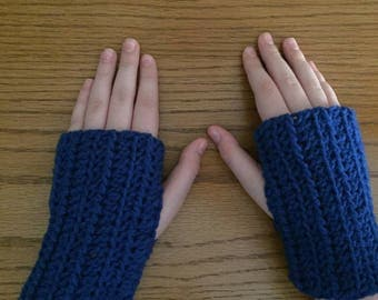 Crochet Fingerless Gloves, Blue, Small Gloves, Wrist Warmers, Texting Gloves, Crochet Gloves, Arm Warmers, Fingerless Mittens, Hippie Boho
