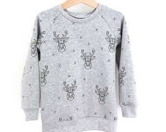 GRAPHIC DEER  baby and toddler sweatshirt - baby sweatshirt - toddler sweatshirt - modern baby clothes