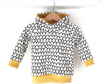SCALES baby hoodie, Scandinavian baby clothes, modern baby