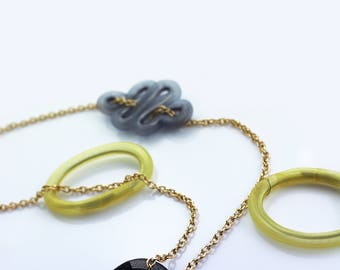 """Necklace, chain necklace, """"RINGS"""" super lightweight, versatile, modern, colorful necklace, a wire necklace pendants, customizable necklace"""