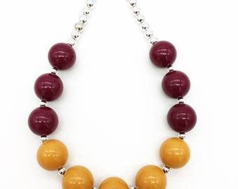 Girls Fall Chunky Necklace, Maroon Burgundy Mustard Yellow Bubblegum Necklace, Toddler Girls Mustard Yellow Burgundy Necklace