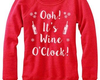 Wine Ugly Sweatshirt. Wine Lover Christmas Off-Shoulder Sweater.