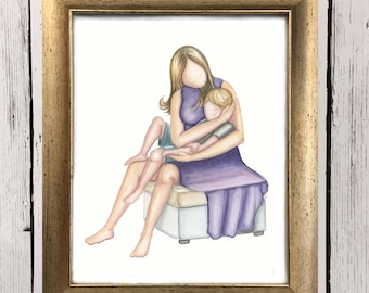 Talks on Momma's Lap- Motherhood art - Watercolor art print - Mother son- gift for mom - boy mom - Home decor - boys room decor