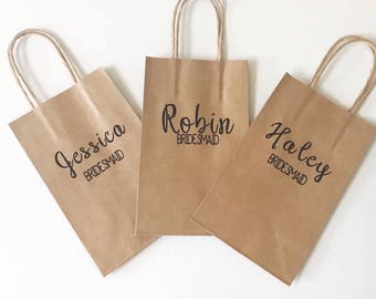 Personalized Gift Bags Name + Title   Small Brown Kraft Bags   Bridesmaids Gifts   Bridal Party Bags   Custom Gift Bags   8.5 x 5.25