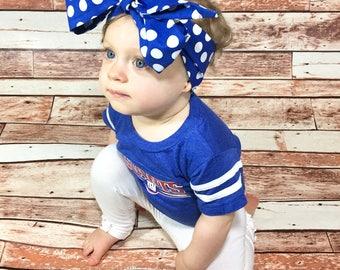 Blue Dottie Headwrap- Blue Headwrap; Polka Dot Headwrap; Blue Headband; Polka Dot Headband; Blue Bow; Polka Dot Bow; Mommy and Me Headband