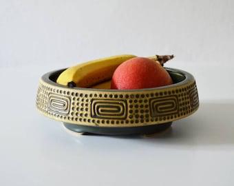 Vintage West Germany fruit bowl green dark green beige ceramic clay ceramic Inca cousin around Bowl Bowl bowl round mid century
