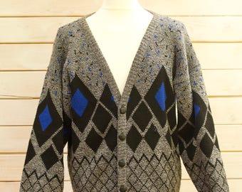 Vintage Diamond Knit Cardigan   Size - Large
