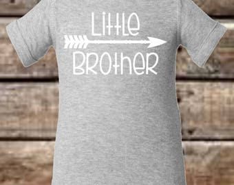 Little Brother Onesie Boys - Heather Grey with White Letters Arrow Shirt