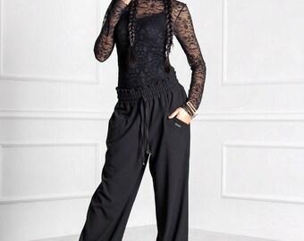 Palazzo Pants/ Long Pants/ Woman Pants/ Extravagant Pants/ Black Pants/ Beautiful Pants/ Drop Pants/ Wide Pants/ Friends Fashion
