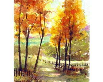 ORIGINAL Landscape Watercolor Autumn Fall Tree Small Painting Tree Art Orange Forest Home Decor for Her Him Wall Art 6x8