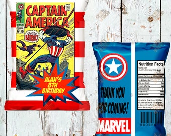 12 Custom Superhero Chip Bag - Favor Bag - Treat Bag - Candy Bag - Printed and Shipped -  Personalized
