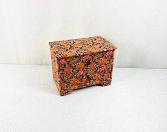 Beautiful Vintage Orange Floral Jewelry Box  Vintage Orange Fabric Jewelry box