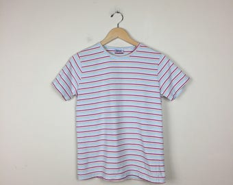 Vintage Striped Tee, Size Medium, Pastel Striped Top, Candy Striped Shirt