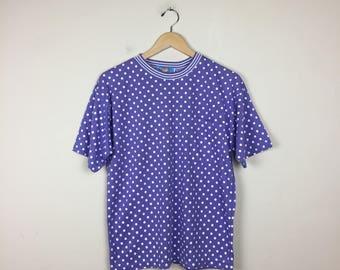90s Polkadot Top, Purple Polkadot Top, Purple Ringer Tee, Pocket T Shirt