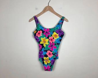 90s Floral One Piece Swimsuit Size M, Floral Swim, Vintage Swimsuit