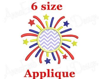 Fireworks embroidery design. 4th of July. Fireworks Applique design. Frame Monogram Applique.  Patriotic Fireworks. Patriotic Embroidery.